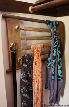Scarf rack from chair     I also like this as idea for towel rack.   In fact I am using an old straight , ladder back chair upside down on wall in a bath, seat turned toward the wall - Potted plant in the top and towels on the chair back portion.  - Glenda Brooks