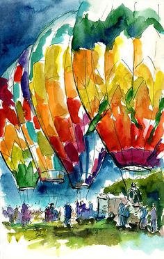 Urban Sketchers: Morning Patrol at the Sonoma County Hot Air Balloon Classic