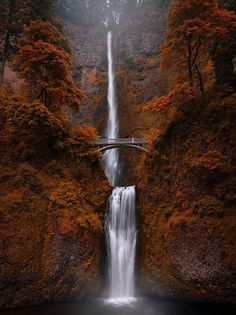 Multnomah Falls, Oregon - United States A waterfall as magnificent and memorable as any in the country is located just a minute drive outside of Portland. Visiting Multnomah Falls, a Autumn Photography, Landscape Photography, Travel Photography, Photography Ideas, All Nature, Amazing Nature, Nature Water, Beautiful Waterfalls, Beautiful Landscapes
