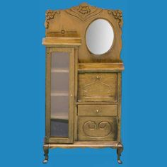 "Walnut Side-by-Side Cabinet 3 9/16""W x 7 1/4""H x 1 1/2""D  $17.99 Working door and drawer. Plastic insert in long, left door."