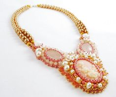 "Bead Embroidery Cameo Necklace Statement Pearl by ThezoraArtBijoux Use ""PINTEREST"" coupon at check-out and get 10% OFF!"