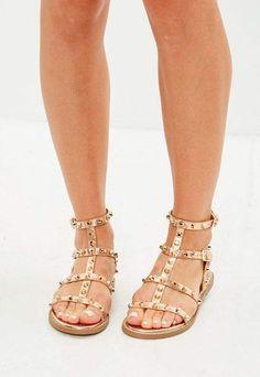 26669e90b2da53 Rose Gold Dome Stud Gladiator Sandals Gold Flat Sandals