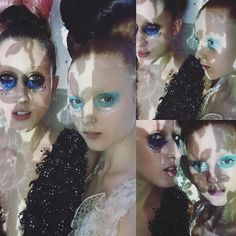 Dreamy 💕💚✨Took these pics of beauties @anna_vrc  and @madi_stubbington with my iPhone on set with @nick_knight @showstudio last December #behindthescenes #onset #glitter #fantasy #whimsical #makeupbylisaeldridge #lisaeldridgemakeup