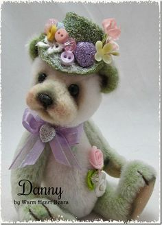 Danny is a one-of-a-kind handmade teddy bear made for the adult collector from Warm Heart Bears.
