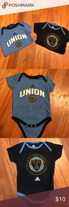 Adidas Philadelphia Union onesies, size 3-6. 2 official brand sports onesies. No stains or tears, very gently worn and washed. Size 3-6 infants. Adidas One Pieces