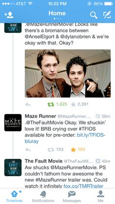 The Maze Runner and The Fault in Our Stars havin a little chat on twitter hehehe