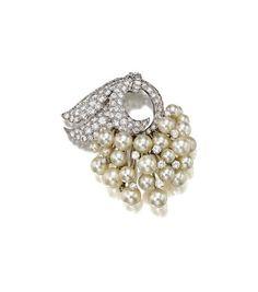 A cultured pearl and diamond brooch, David Webb