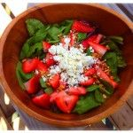 Strawberry Spinach Salad with Pine nuts and Feta