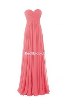 Chiffon Strapless Sweetheart Ruched Bodice Pleated Skirt Long Bridesmaid Dress - RedBD