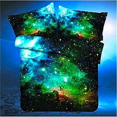 Queen Size 4pcs Bedding Set 3D Oil Print Space Galaxy Duvet Cover Pillow Cases #LoveHome