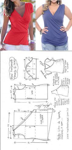 Blusa transpassada de malha – DIY – molde, corte e costura – Marlene Mukai