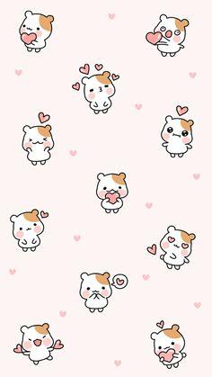 fondo de pantalla para celular estilo kawaii con Hamtaro jugando y sonriendo Tier Wallpaper, Cute Pastel Wallpaper, Soft Wallpaper, Cute Patterns Wallpaper, Kawaii Wallpaper, Heart Wallpaper, Trendy Wallpaper, Cute Animal Drawings, Kawaii Drawings