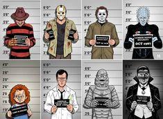 The usual suspects. Horror Movie Characters, Best Horror Movies, Classic Horror Movies, Scary Movies, Horror Movie Tattoos, Slasher Movies, Horror Cartoon, Funny Horror, Cartoon Art