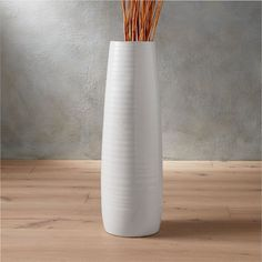 Handmade stoneware vessel takes texture for a spin. Concentric rings revolve around tactile hi-gloss white vase, ascending more than two feet. spin glossy vase is a exclusive. Tall White Vase, Black Vase, Green Vase, Tall Vases, White Vases, Large Vases, Centerpiece Decorations, Vases Decor, Large Floor Vase