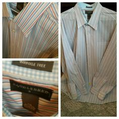 MENS long sleeve button down Saddlers green white XXL Saddlebred Tops Button Down Shirts