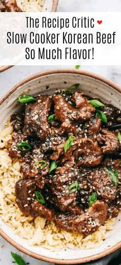 The Recipe Critic Slow Cooker, Slow Cooker Recipes, Crockpot Recipes, Cooking Recipes, Slow Cooker Korean Beef, Healthy Slow Cooker, Beef Recipes For Dinner, Great Recipes, Favorite Recipes