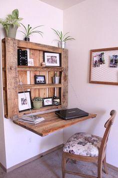 Pallet Desk, Diy Pallet Furniture, Diy Pallet Projects, Furniture Projects, Furniture Design, Garden Furniture, Rustic Furniture, Farmhouse Furniture, Furniture Plans