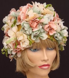 Vintage 1960s Silk Flower Hat // Pink Peach and Green. I have one of these that my daughters absolutely hate when I wear it! Ha!Ha!Ha!