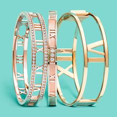 Atlas® hinged bangles in 18k rose gold with diamonds and 18k yellow gold. #TiffanyPinterest