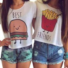 Mignon Chemise 2016 D'été Meilleurs Amis T shirt Femmes Hamburger Français frites Imprimé À Manches Courtes t-shirt femmes Kawaii Femmes Tops(China (Mainland))