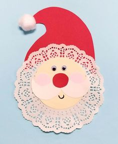 Kids can make a doily santa decoration using a few simple craft materials! Use this as a fun group craft project or a one-on-one activity. To make this craf Kids Crafts, Arts And Crafts For Teens, Christmas Crafts For Kids To Make, Christmas Card Crafts, Preschool Christmas, Snowman Crafts, Noel Christmas, Preschool Crafts, Easter Crafts