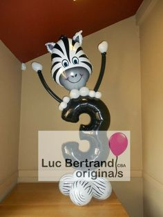 Check out this cute Zebra birthday balloon creation!ized with any age number. Creation by Luc Bertrand, CBA, from Blgium on the Very . Balloon Stands, Balloon Display, Balloon Gift, Birthday Balloon Decorations, Balloon Centerpieces, Birthday Balloons, Zebra Birthday, Halloween Birthday, Birthday Month