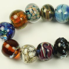 Lampwork Glass Bead Set Iridescent Blue by StoneDesignsbySheila
