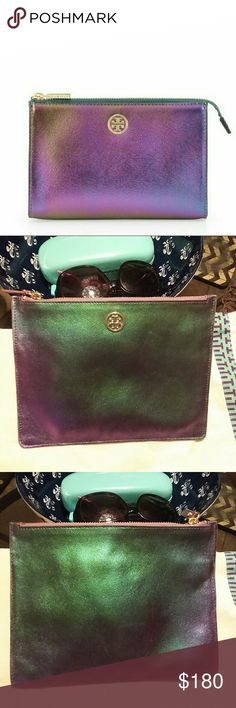 Tory Burch Hologram Clutch🍭❤ Rare piece super stlish can be worn as a clutch or used as a makeup bag🍭🍬 Tory Burch Bags Clutches & Wristlets