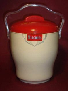 RETRO VINTAGE ART DECO CREAM  RED BAKELITE PLASTIC BISCUIT BARREL - BRISTOLITE