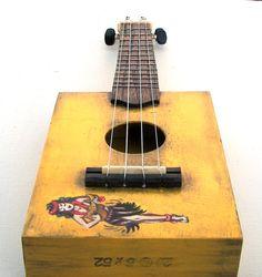 custom order cigar box ukulele with hula girl. hand by trashstudio, $299.00