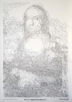 6,239-dot connect-the-dots drawing of the Mona Lisa