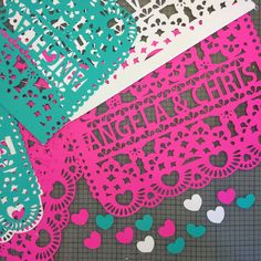 Fun Mexican Papel Picado banners/flag decorations for Fiesta Engagement Parties, Weddings and more! Custom wording and available in many colors to