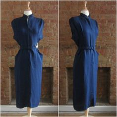 Vintage 1940s Navy Dress - 40s Blue Wiggle Dress - By The Moonlight on Etsy