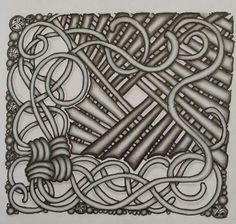 Zentangle tile. Tangle patterns used Mak-rah-mee & Lap. drawn by Dayna Brown
