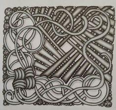 Zentangle tile. Tangle patterns used Mak-rah-mee & Lap. drawn by Dayna Brown