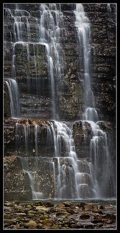 Hartnett Falls, Tasmania A different view of the roaring Hartnett falls on the overland track of Tasmania. We were trekking during a period of snow melt so there was plenty of water running through the park. View On Black Places To Travel, Places To See, Travel Destinations, Beautiful World, Beautiful Places, Beautiful Waterfalls, World Pictures, Australia Travel, National Parks