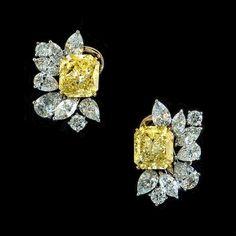 Yellow Diamond And Diamond Cluster Earrings