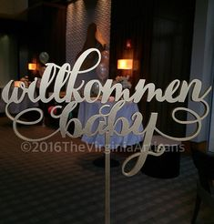 Willkommen+Baby.++Table+Sign.+Baby+Shower+by+TheVirginiaArtisans