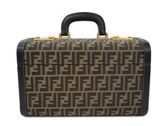 #FENDI Vanity Bag Zucca Canvas/Leather Black/Khaki (BF099966). #eLADY global offers free shipping worldwide. For more pre-owned luxury brand items, visit http://global.elady.com