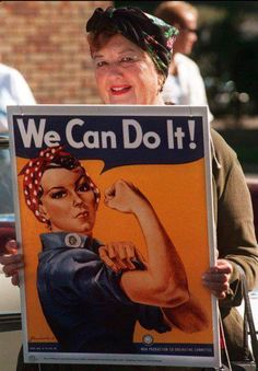 "The real ""Rosie the Riveter""  Geraldine Hoff Doyle, was a 17 years (in 1942) while she was working at the American Broach & Machine Co. when a photographer snapped a pic of her on the job.  That image used by J. Howard Miller for the ""We Can Do It!"" poster, released during World War II."