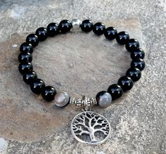 Men's Bracelet, Men Black Onyx Gemstone Mala Bracelet, Tree of Life Charm Jewellery, Boho, Yoga, Mala, Prayer Beads, Bohemian Bracelet