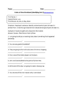 Point of View Worksheet ELA-Literacy.RI.3.6 Reading Informational Text