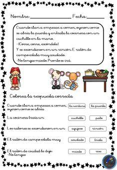 Fichas para trabajar la comprensión lectora - Imagenes Educativas Teaching Spanish, Body Language, Speech Therapy, Grammar, Homeschool, How To Plan, Education, Learning, Children's Literature