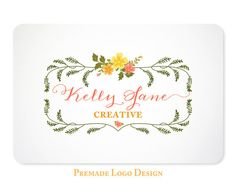 Floral Logo Design - Premade Logo Design for Photographers, Boutiques, Etsy Shops - Design 30