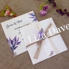 Lavanta çiçekli Düğün Davetiye Modelleri
