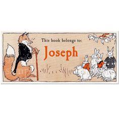 bookplate, fox & hares