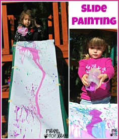 Use a slide or easel to pour paint and create art with kids. Do I dare do this with my 1 and 2 yr old daycare kids? on my indoor slide? Might be fun.might be a disaster. Painting For Kids, Art For Kids, Crafts For Kids, Preschool Activities, Outdoor Activities, Nursery Activities, Preschool Centers, Preschool Education, Children Activities