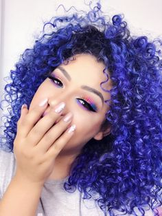 Dyed Curly Hair, Colored Curly Hair, Dye My Hair, Blue Hair, Curly Hair Styles, Natural Hair Styles, Color Ombre Hair, Cool Hair Color, Creative Hair Color