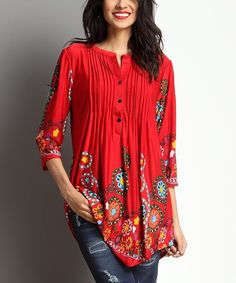Love this Red Garden Notch Neck Pin-Tuck Tunic by Reborn Collection on Beautiful Outfits, Cool Outfits, Casual Outfits, Boho Fashion, Fashion Dresses, Womens Fashion, Fashion Design, Little Girl Leggings, Estilo Hippie