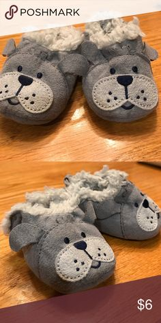 Newborn Dog Soft Shoes Newborn gray dog shoes with fuzzy inside Shoes Baby & Walker